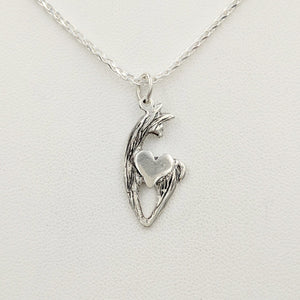 Alpaca or Llama Spirit Crescent Pendants with Heart Accent - Sterling Silver Animal with Sterling Silver heart accent