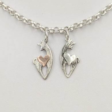 Alpaca or Llama Spirit Crescent Charms with Heart Accents -one all Sterling Silver and one sterling silver animal with a 14K Rose Gold Heart accent