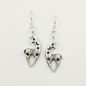 Alpaca or Llama Spirit Image Earrings - Shiny finish -Sterling Silver