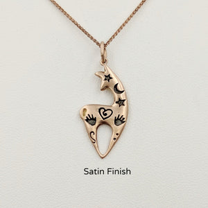 Alpaca or Llama Spirit Image Pendant with a Satin finish  !4K Rose Gold