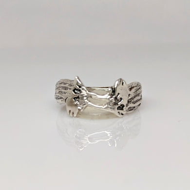 Alpaca Suri Duo Head Ring - Sterling Silver