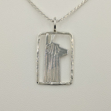 Alpaca Suri Head Open View Pendant - Rectangular Shape Hammered Rim Sterling Silver