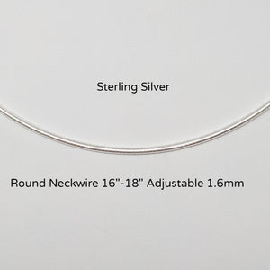 "Sterling Adjustable Round Neckwire  16""-18""  Sterling Silver"