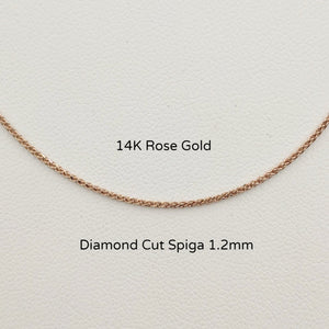 14K Rose Gold Diamond Cut Spiga Chain 1.2mm