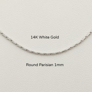 14K White Gold Round Parisian Chain 1mm