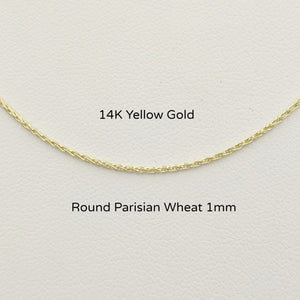 14K Yellow Gold Round Parisian Chain 1mm
