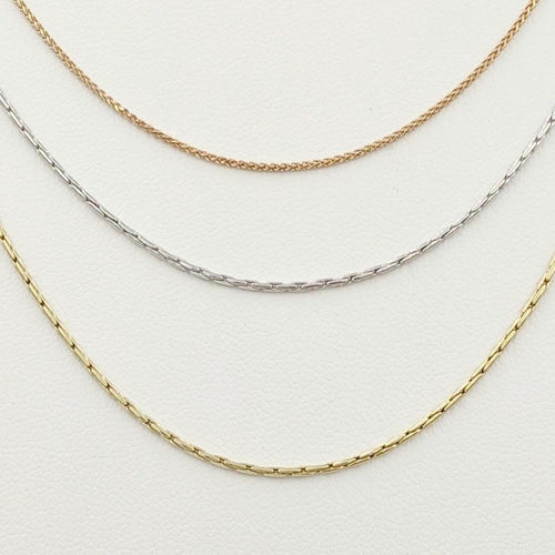 14K Rose, White and Yellow Chains