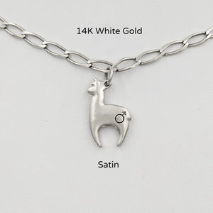 Alpaca Huacaya hand-made 14K white gold crescent shaped charm with gender accent stamp; satin finish