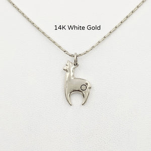 Alpaca Huacaya 14K white gold hand-made crescent shaped pendant with a gender accent stamp; shiny finish