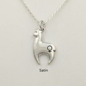 Alpaca Huacaya hand-made Sterling silver crescent shaped pendant with a gender accent stamp; satin finish