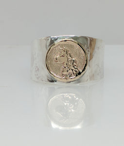 Custom Llama Head Coin Ring - Sterling Silver Band with 14K Yellow Gold Accent Coin