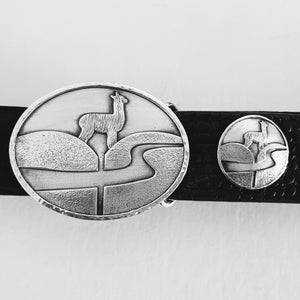 Custom Belt Buckle with Farm or Ranch Logo - With matching concho - Sterling Silver