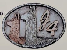 Load image into Gallery viewer, Custom Belt Buckls with Farm or Ranch Logo - Sterling Silver with 14K Yellow and Rose Gold Accents