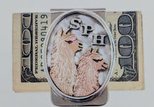 Load image into Gallery viewer, Custom Money Clip - Sterling Silver with 14K Yellow and Rose Gold Alpaca Heads - And Sterling Silver Initials S P H
