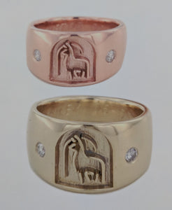 Custom Rings with an Alpaca Ranch Logo - 14K Yellow and 14K Rose Gold  Bands with Diamond Accent
