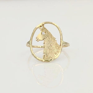 Llama Head Open View Ring - 14K Yellow Gold with Diamond eye accent