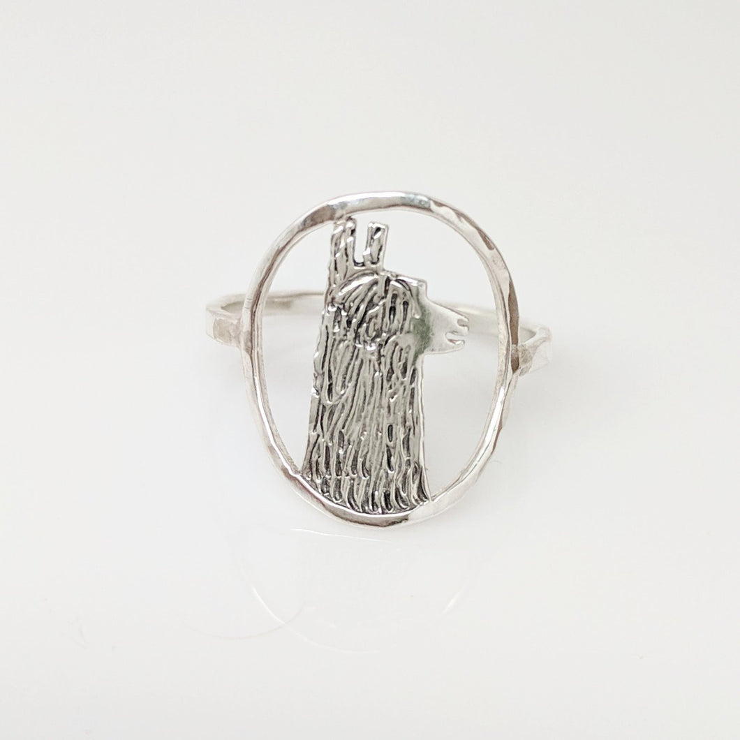 Alpaca Huacaya Head Open View Ring - Sterling Silver