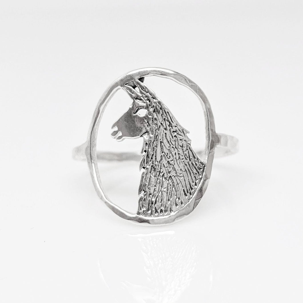 Llama Head Open View Ring - Sterling Silver