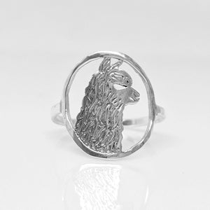Alpaca Huacaya Head Open View Ring - Classic open design with the unique silhouette of a Huacaya alpaca head.  Sterling Silver