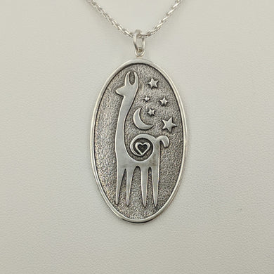 Alpaca or Llama Celestial Oval Pendant Sterling Silver with Smooth and Shiny Rim