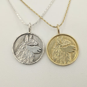 Alpaca Huacaya Head Coin Pendant - 14K Yellow Gold & Sterling Silver