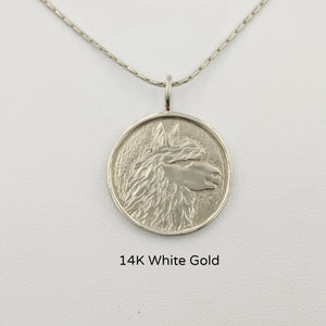 Alpaca Huacaya Head Coin Pendant - 14K White Gold