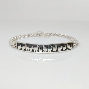 Alpaca Huacaya Herd Line ID Bracelet - Sterling Silver; Oxidized Accent
