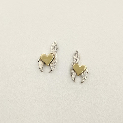 Sterling silver crescent earrings with 14K yellow gold heart accents on posts