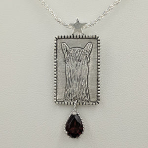 ALSA National Show Champion Charms Pendant - National Alpaca Champion - Sterling Silver with Garnet teardrop dangle accent