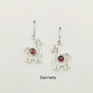 Alpaca or Llama Compact Spiral  Earrings with Garnet Gemstones - Sterling Silver on French Wires