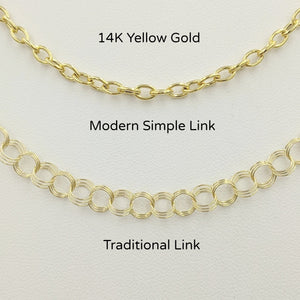 2 Styles of Charm Bracelets - 14K Yellow Gold Modern Simple Link and Traditional Charm Bracelet