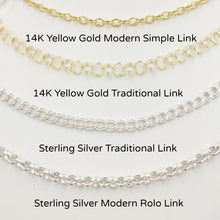 Load image into Gallery viewer, 4 Styles of Charm Bracelets - 14K Yellow Gold Modern Simple Link and Traditional Charm Bracelet and Sterling Silver Traditional Charm Bracelet and Modern Rolo Link