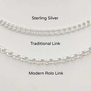 2 Styles of Charm Bracelets in Sterling Silver Traditional Charm Bracelet and Modern Rolo Link
