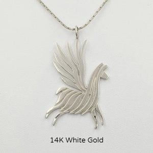 Alpaca or Llama Winged Soaring Spirit Pendant - 14K White Gold  Animal smooth finish  Animal Smooth Finish