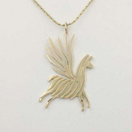 Alpaca or Llama Winged Soaring Spirit Pendant - 14K Yellow Gold  Animal smooth finish
