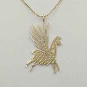 Alpaca or Llama Winged Soaring Spirit Pendant - 14K Yellow Gold  Smooth finish