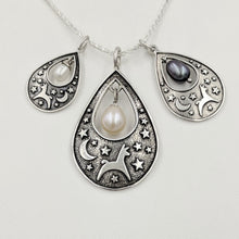 Load image into Gallery viewer, Alpaca or Llama Celestial Spirit Teardrop Pendant with Pearl  3 sizes Sterling Silver with white and raven pearl accent dangles