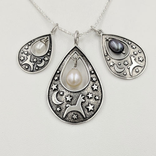 Alpaca or Llama Celestial Spirit Teardrop Pendant with Pearl  3 sizes Sterling Silver with white and raven pearl accent dangles