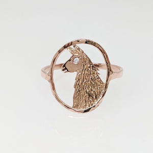 Llama Head Open View Ring - 14K Rose Gold with Diamond eye accent