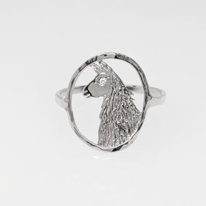 Llama Head Open View Ring - 14K White Gold with Diamond eye accent