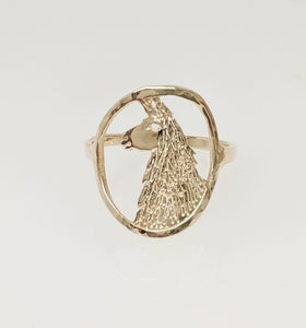 Llama Head Open View Ring - 14K Yellow Gold