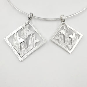 2 sizes ofLlama Tri-Head Pendants -large  Diamond shape with hammered rim - Medium size diamond shape with smooth rim - Sterling Silver