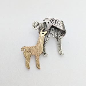 Llama Kiss Pin - Sterling Silver Mother with 14K Yellow Gold Baby Cria