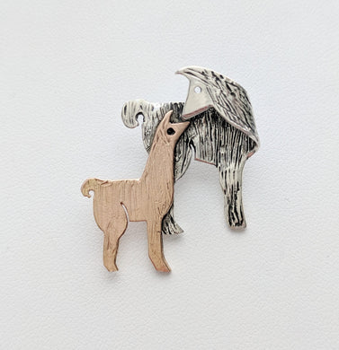 Llama Kiss Pin - Sterling Silver Mother with 14K Rose Gold Baby Cria