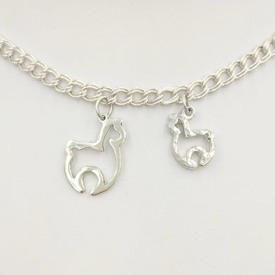 Alpaca Huacaya Open Silhouette Charm Hammered and smooth finishes Sterling Silver -2 sizes