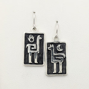 Alpaca or Llama Petroglyph Earrings  smooth texture  fully oxidized  French wires  Sterling silver