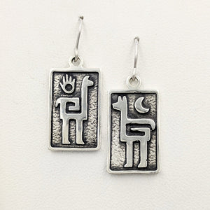 Alpaca or Llama Petroglyph Earrings  smooth texture  partial oxidized  French wires  Sterling silver