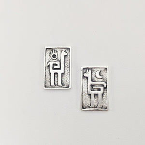 Alpaca or Llama Petroglyph Earrings  smooth texture  partially oxidized  on posts  Sterling silver