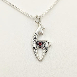 Hand Engraved Spirit Crescent Pendant with garnet gemstone - Sterling Silver