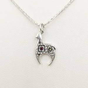 Hand Engraved Huacaya Alpaca Crescent Pendant - with peridot and garnet gemstones - Sterling Silver